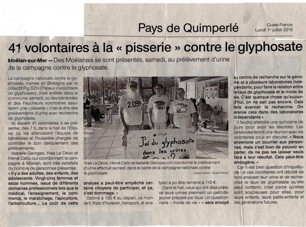 Ouest France : pisserie de Moëlan sur mer