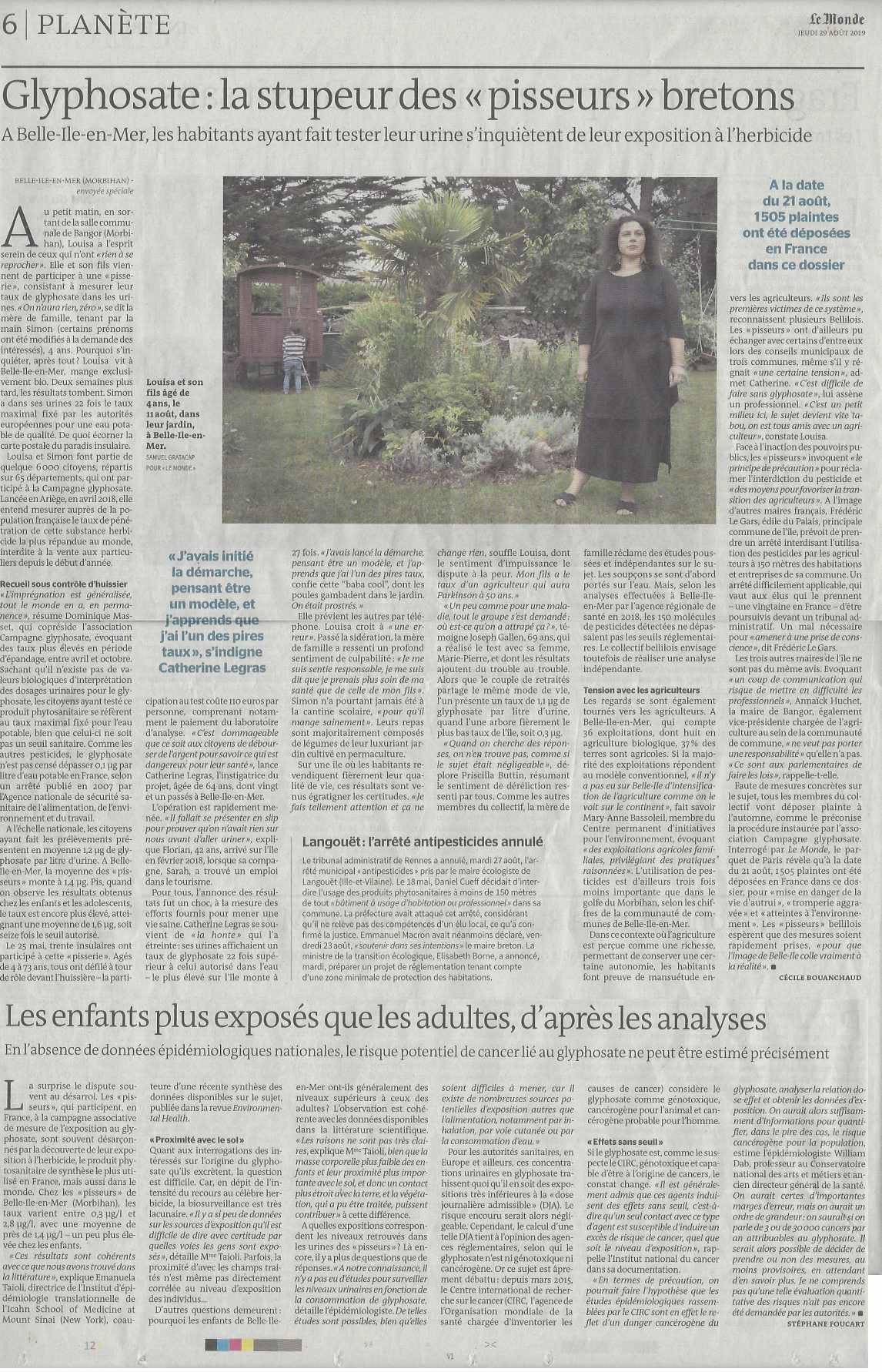 Le Monde 29 août 2019