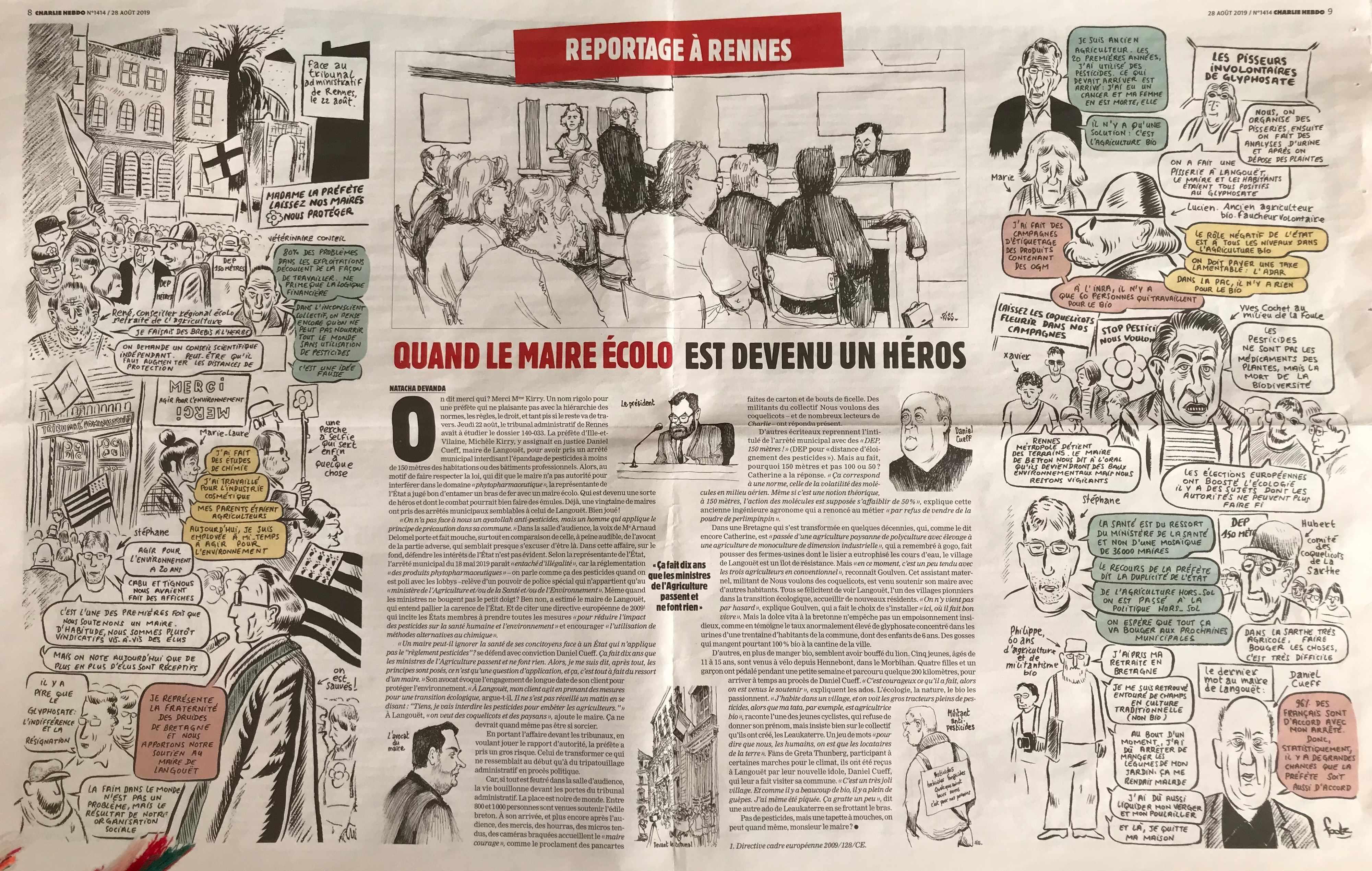 TA Rennes 22 août 2019 vu par Charlie Hebdo