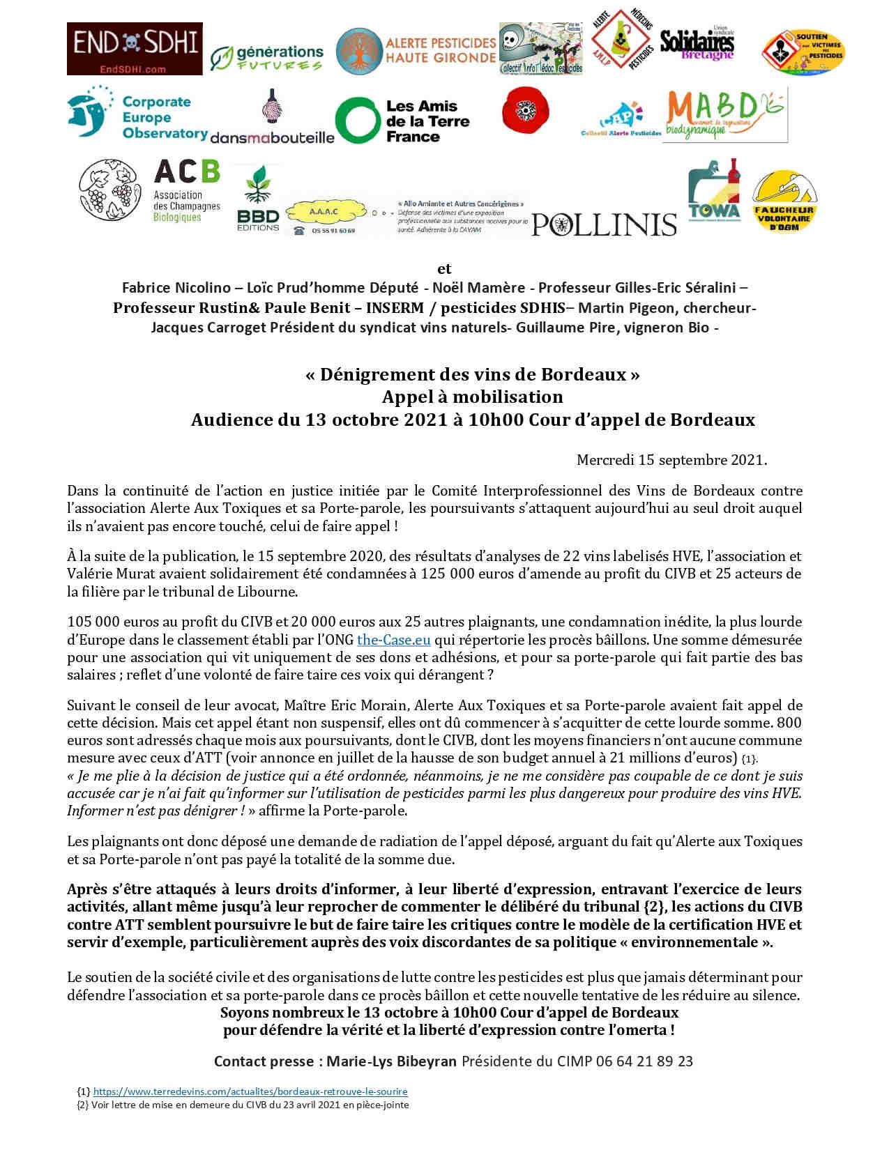 Mobilisation le 13 octobre 2021 à Bordeaux